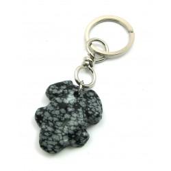 Schlüsselanhänger Frosch Obsidian Schneeflocke