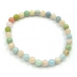 Kugel-Armband Beryll rosa-grün-blau 6 mm