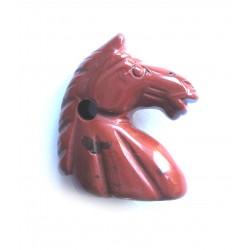 Anhänger Pferdekopf Jaspis rot 23 x 27 mm gebohrt