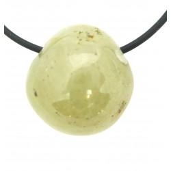 Trommelstein gebohrt Saphir gelb-grün