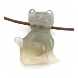 Katze gebohrt 2,5 cm Fluorit lilagrün