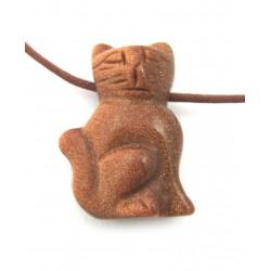 Katze gebohrt 2,5 cm Goldfluss (Kunstglas)