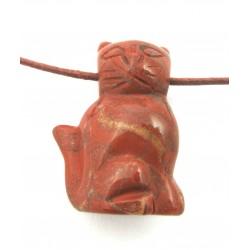 Katze gebohrt 2,5 cm Jaspis rot