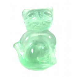Katze gebohrt 2,5 cm Fluorit grün