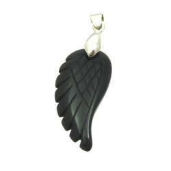 Anhänger Engels-Flügel Obsidian schwarz 3 cm mit Metall-Öse