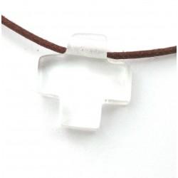 Kreuz gebohrt Bergkristall 15 mm