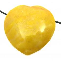Herz gebohrt Dolomit gelb 35 mm