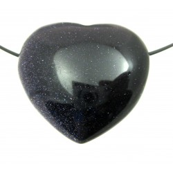 Herz gebohrt Blaufluss (Kunstglas) bauchig 35 mm