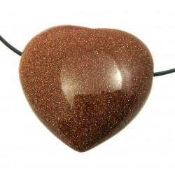 Herz gebohrt Goldfluss (Kunstglas) bauchig 35 mm