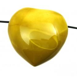 Herz gebohrt Mookait bauchig 35 mm