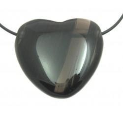 Herz gebohrt Obsidian Lamellen 35 mm