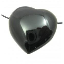Herz gebohrt Obsidian schwarz 35 mm