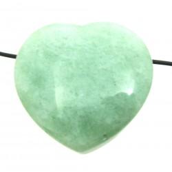 Herz gebohrt Aventurinquarz grün bauchig 45 mm