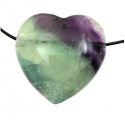 Herz gebohrt Fluorit bauchig 45 mm
