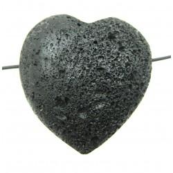 Herz gebohrt Lava bauchig 35 mm