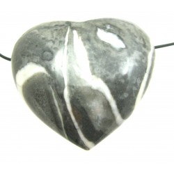 Herz gebohrt Fossilienkalk bauchig 45 mm