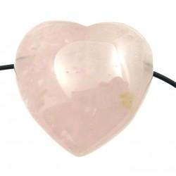 Herz gebohrt Rosenquarz bauchig 35 mm