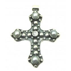 Anhänger Kreuz mit Topas und Perlen 4 cm 925er Silber