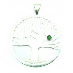 Anhänger Weltenbaum mit Diopsid 4 cm 925er Silber