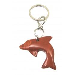 Schlüsselanhänger Delfin Jaspis rot
