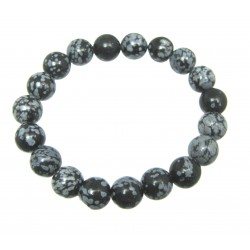 Kugel-Armband Obsidian Schneeflocke 10 mm