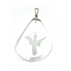 Anhänger Bergkristall Scheibe mit Engel-Gravur 925er Silber