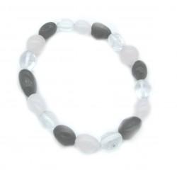Nugget-Armband klein Bergkristall Rosenquarz Turmalin schwarz (stab.)