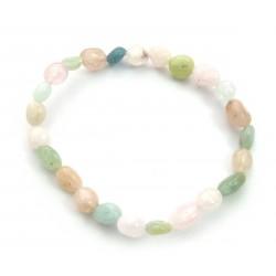 Nugget-Armband klein Beryll rosa-grün-blau fein 5-7 mm