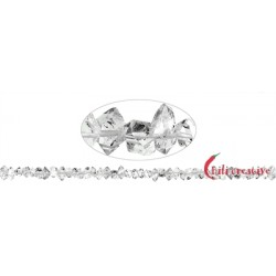 Strang Doppelender Bergkristall (Herkimer-Art Pakistan) natur quer gebohrt 3-4 x 7-10 mm