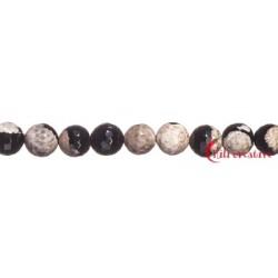 Strang Kugel Achat (Moonlight) weiß-schwarz (gefärbt) facettiert 12 mm