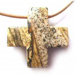 Kreuz gebohrt Marmor Landschaftsmarmor 3 cm