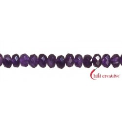 Strang Button Amethyst facettiert 6 mm