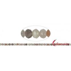 Strang Button Mondstein (bunt) facettiert 4 x 6 mm