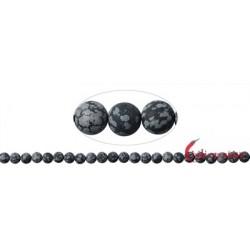 Strang Kugeln Obsidian Schneeflocke matt 6 mm (38cm)
