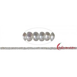 Strang Button Süßwasser-Perle AB weiß 2 x 3-4 mm (36cm)
