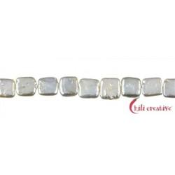 Strang Quadrat flach Süßwasser-Perle A creme-weiß 10 x 10 mm