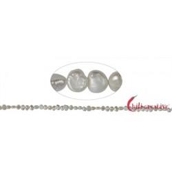Strang Freeform flach Süßwasser-Perle A weiß-creme 5-6 mm