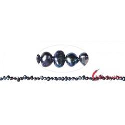 Strang Keshi Süßwasser-Perle petrol (gefärbt) 5-6 mm (37cm)