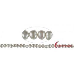 Strang Freeform Süßwasser-Perle AB weiß-creme 8-9 mm