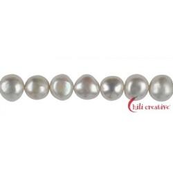 Strang Freeform Süßwasser-Perle A weiß 10-11 mm