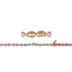 Strang Freeform flach Süßwasser-Perle AB lachs (natur) 10-11 x 7-8 mm