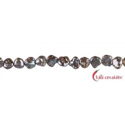 Strang Keshi Süßwasser-Perle A petrol lila (gefärbt) 10-12 mm