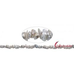 Strang Freeform Süßwasser-Perle silbergrau (natur) ca.   1-4 x 4-8 mm