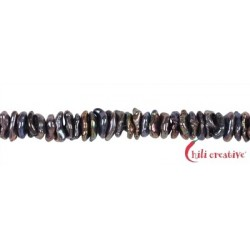 Strang Keshi Süßwasser-Perle A petrol-lila (gefärbt) ca. 2-4 x 5-8 mm