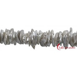 Strang Keshi Süßwasser-Perle silbergrau (natur) ca. 2-4 x 12-16 mm