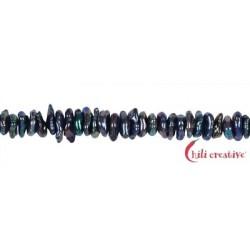 Strang Keshi Süßwasser-Perle A petrol-bunt (gefärbt) ca. 2-4 x 5-8 mm