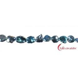 Strang Keshi Süßwasser-Perle petrol blau (gefärbt) 6-8 mm (37cm)