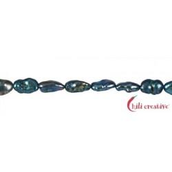 Strang Keshi Süßwasser-Perle AB petrol blau (gefärbt) 12-18 mm