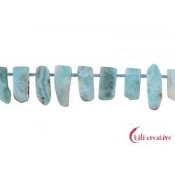 Strang Freeform Stäbchen flach Larimar 5-8 x 12-22 mm mit Verlauf