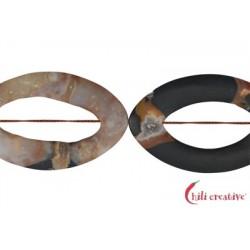 Strang Navette leicht gedreht Sardonyx matt 60-65 x 40-45 mm